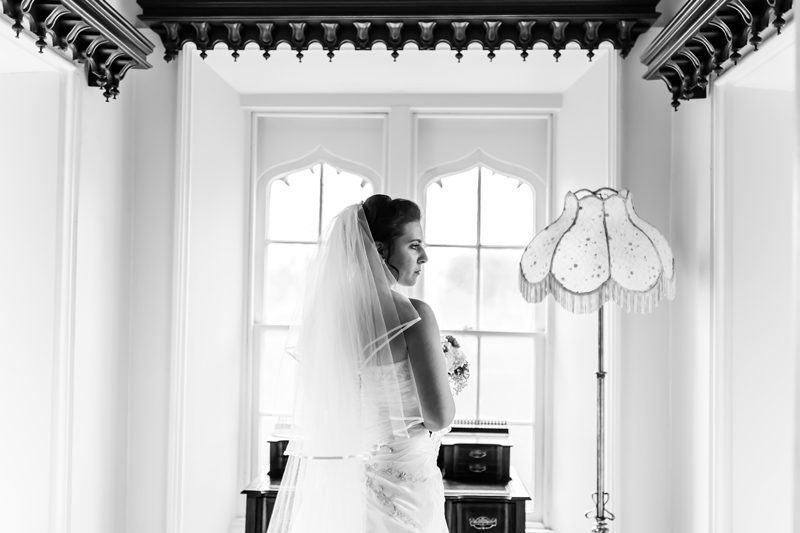 Back of bride while she looks to the right