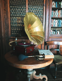 Gramophone on a round table