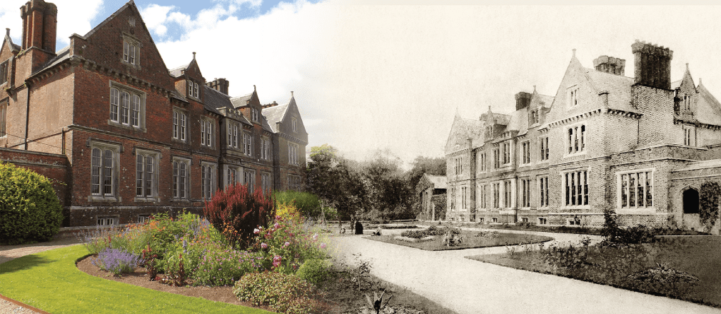 2 Images of Wells House next to each other, 1 in color and the other in black and white