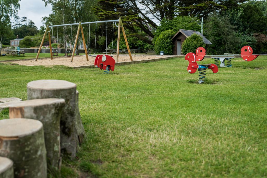 Park with stumps, swings and spring rides
