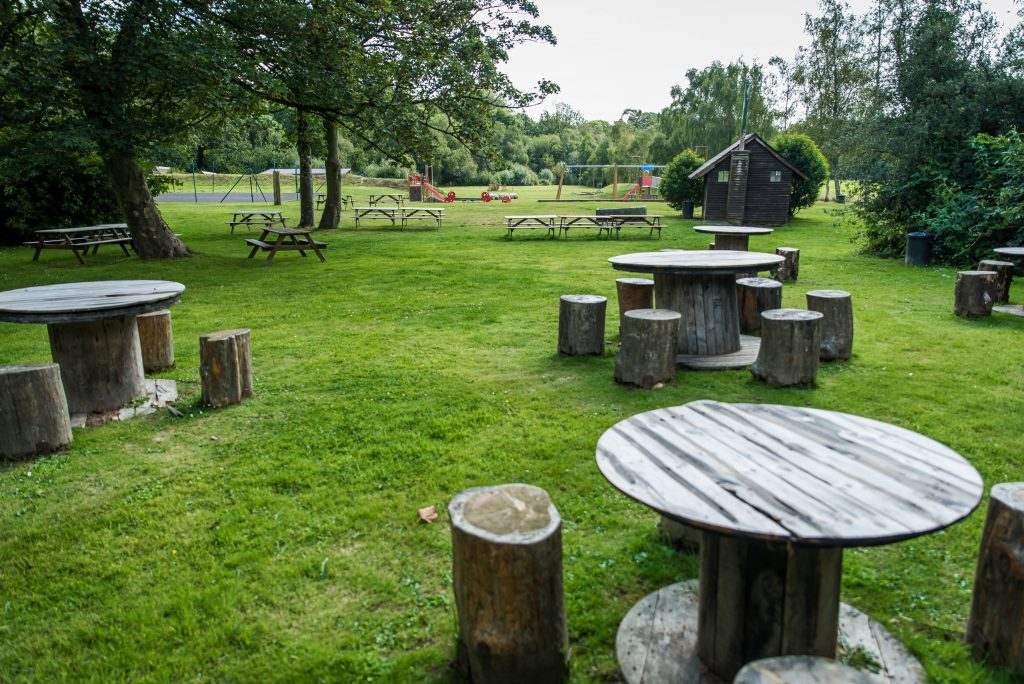 Park with wooden stumps as chairs and round wooden tables