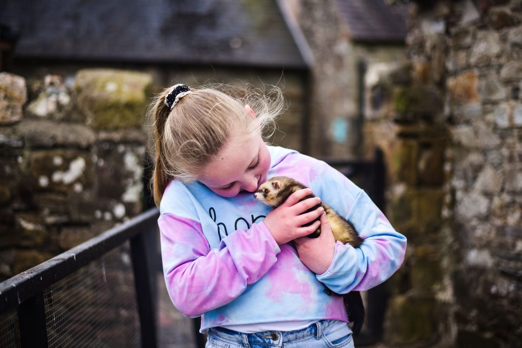 Little girl holding a fury animal