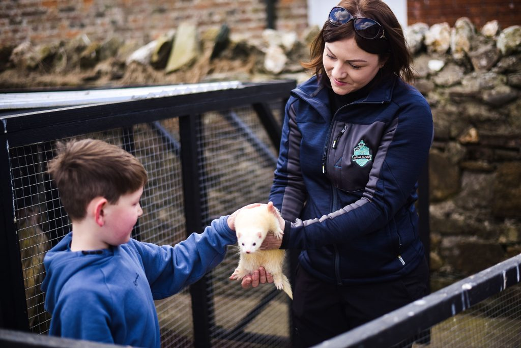 Female holding fury animal while the little boy rubs it