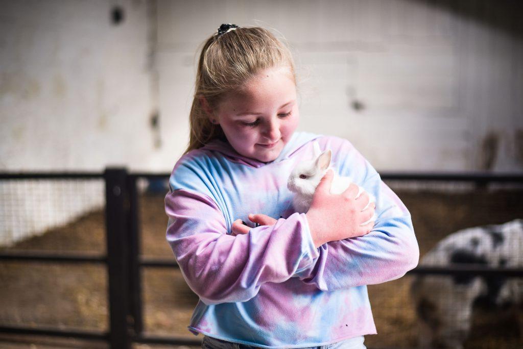 Little girl holding a white rabbit